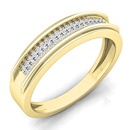 0.15 Carat (ctw) 14K Yellow Gold Round Diamond Men's Micro Pave Hip Hop Wedding Band (Size 7) by DazzlingRock Collection