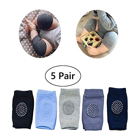 Learn Pads - Baby Crawling Anti Slip Knee Pads, Unisex Clothing Accessories Toddler Leg Warmers Safety Protective Cover Toddlers Learn to Socks Children Short Kneepads,5 Pair