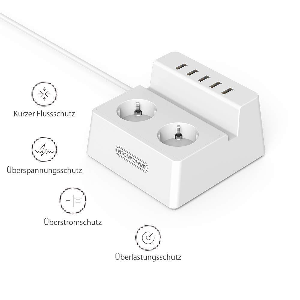 Blanc NTONPOWER Multiprise Interrupteur avec La Protection Contre Les surcharges Le Bloc Multiprise 5 USB 2 Prises Support pour Telephone