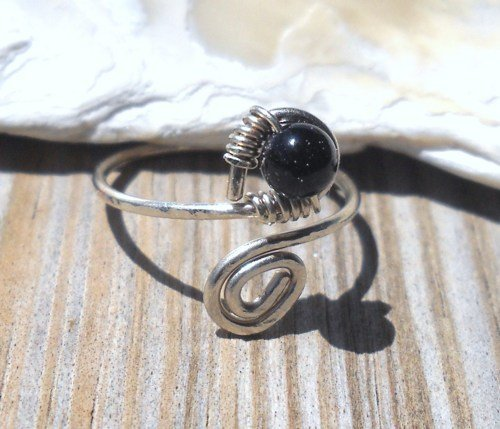 Black Onyx Wrapped Silver Wire Spiral Toe Ring Adjustable Size