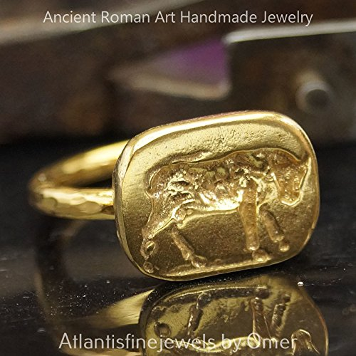 [Bull Coin Ring Handmade Sterling Silver Design By Omer 24k Gold Vermeil Turkish Fine Jewelry] (Bulls 24k Gold Coin)