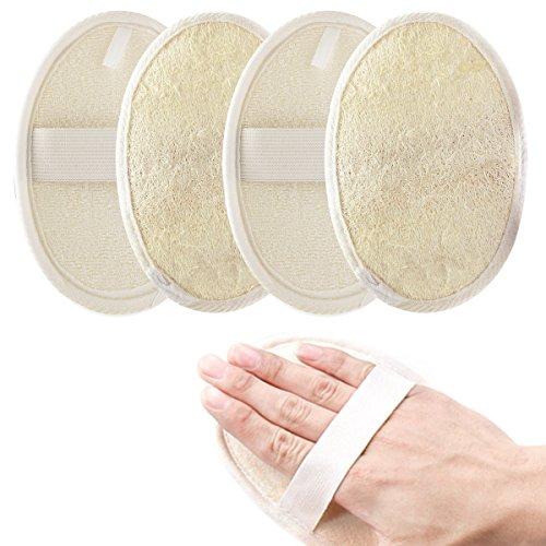 Jaciya 5 Pack Exfoliating Loofah Sponge Pads, Natural Luffa Material Loofah Sponge for Men and Women, Perfect for Bath Shower and Spa by Jaciya