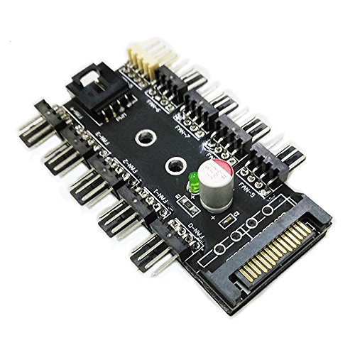 Evo Chassis - Chassis Fan Hub CPU Cooling HUB 10 Port 12V 3Pin/4 Pin Fan PWM Fan Hub Controller power from SATA Interface