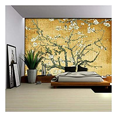 Yellow Textured Almond Blossom by Vincent Van Gogh - Wall Mural, Removable Sticker, Home Decor - 100x144 inches