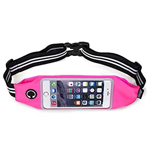 Running Belt Waist Pack, AIHOLES Workout Belt Waist Bag Exercise Band Fitness Pouch Universal Sports Waistband, Holds all iPhones Plus Accessories Plus Reflective Transparent Touch Screen