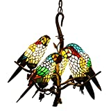Makenier Antique Vintage Tiffany Style Stained Glass Parrot Bird Shade Chandelier Ceilingt Pendant Light Fixture + Tree Branch Design - Adjustable Chain - Bronze Finish