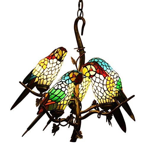 (Makernier Vintage Tiffany Style Stained Glass Tree Branches 5 Arms Parrots Chandelier)