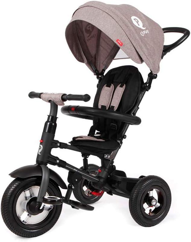 QPLAY Triciclo Evolutivo para Bebés Rito con Ruedas de Aire - Plegable - Gris - De 10 a 36 Meses - Peso máximo soportable 25kg