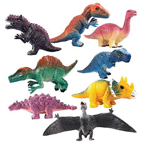 KINGBOT Realistisch aussehende Dinosaurier Spielzeug Packung mit 8 pädagogischen Dinosaurier Set Plastik sortierte Dinosaurierfiguren für Geschenk, Geschenk, Party Gefallen