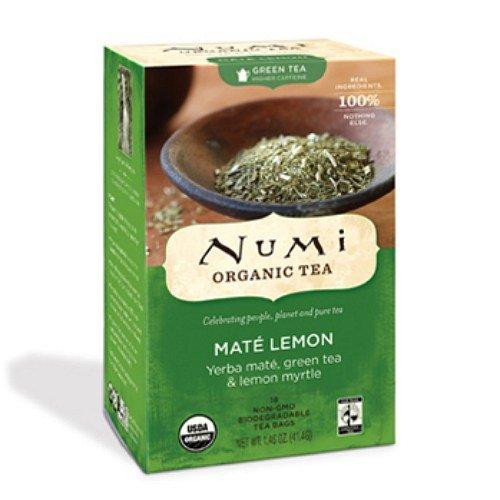 Numi Organic Tea Mate Lemon Rainforest Green Tea 18 bags (Pack Of 4) (Rainforest Numi Green Mate)