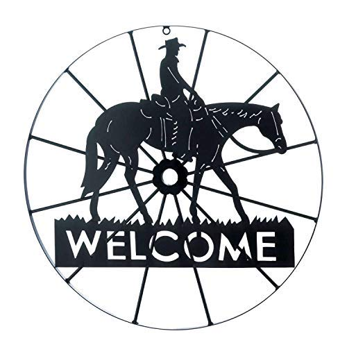 Metal Welcome Wagon Wheel with Horse & Cowboy from TheCraftyCrocodile]()