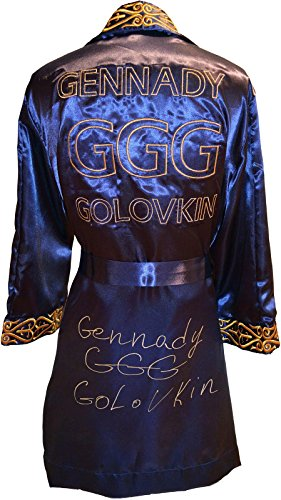 "Gennady""GGG"" Golovkin Signed Navy & Gold Boxing Robe - Autographed Boxing Robes and Trunks"