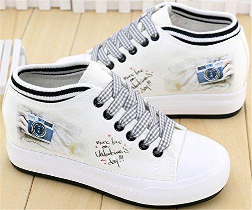 Satuki Verborgen Hiel Mode Sneakers Voor Dames, Wiggen Platform Veter Casual Witte Sport Canvas Schoenen D