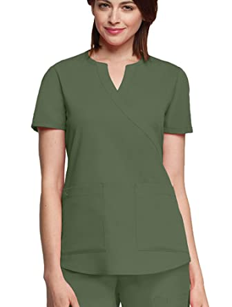 3892511dd07 Amazon.com: Barco NrG Women's Junior Fit 2 Pocket Mock Wrap Panel ...