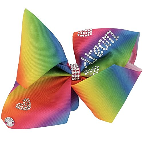 JoJo Siwa Signature Collection Hair Bow - Rainbow with Rhinestone Hearts and DREAM