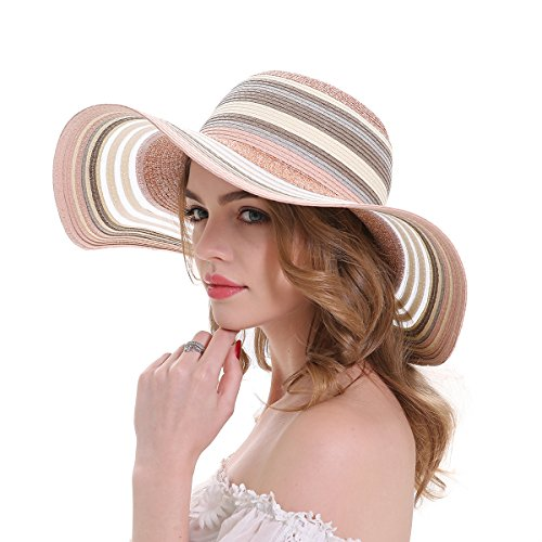 MEEFUR Floppy Stripes Big Brim Beach Hat Ladies Travel Packable Caps Summer Anti-UV Protection UPF 50+ Adjustable Straw Hats Pink Stripe Straw Hat