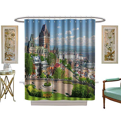 luvoluxhome Shower Curtain Collection by Chateau Frontenac in The Quebec City Satin Fabric Bathroom Washable W72 x L84 ()