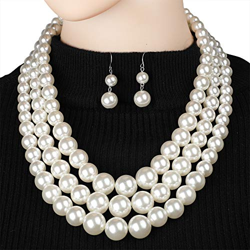 Faux Strand Earrings - 7 COLOR WINGS Women's Simulated Faux Three Multi-Strand Pearl Statement Necklace and Earrings Set (White)