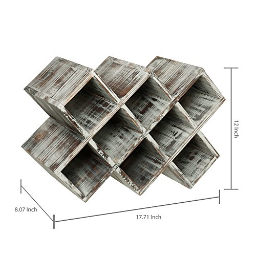 Countertop Rustic Torched Wood Wine Rack, Geometric Design 8-Bottle Storage Organizer by MyGift (Image #3)