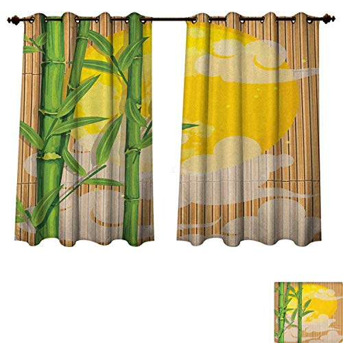 - PriceTextile Asian Blackout Thermal Curtain Panel Bamboo Tree Branches Full Moon and Abstract Curvy Clouds Stars Eastern Patterned Drape for Glass Door Yellow Green Pale Brown Size W52 xL63