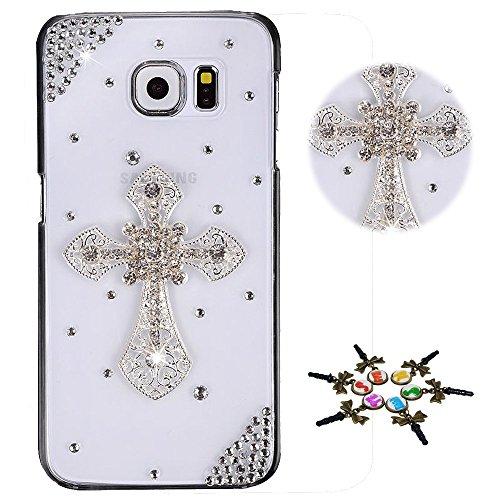 STENES Galaxy J7 (2018) Case - Stylish - 100+ Bling Crystal - 3D Handmade Cross Design Bling Cover Case for Samsung Galaxy J7 2018/Galaxy J7 Refine/Galaxy J7 Star - Silver