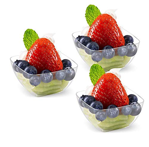 Clear Plastic Dessert Bowls Plates | 2 oz - 24 Pack | Square Rounded Shape Disposable Small Bowls for Parties | Pinch Prep Dipping Bowls | Condiment Sauce Custard Cups | Candy Dishes [Mini Wonders]