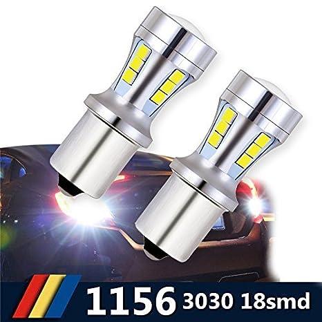 Bombillas LED BA15S 1156, luces LED de luz blanca para automóviles, 6000K 18-