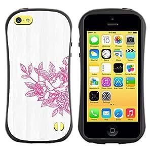 Fuerte Suave TPU GEL Caso Carcasa de Protección Funda para Apple Iphone 5C / Business Style Spring Art White Washed Grey