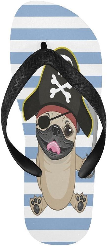 Dog Pirate Hat Summer Beach Thong Sandal InterestPrint Mens Flip Flop Slippers