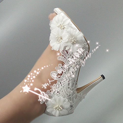 Flowers Shoes Prom Sandals Satin Wedding Water Drill Shoes VIVIOO Waterproofing 6 Brides Pumps Heel Crystal Peep Bride Pearl Toe Super Lace Lady dI4w84q