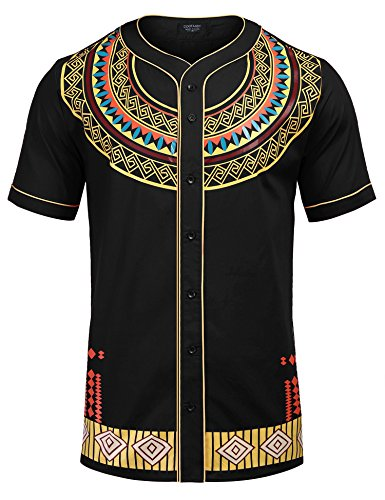 COOFANDY Mens African Dashiki American Casual Button Down Shirt Short Sleeves