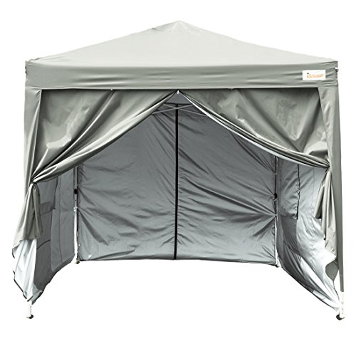 Price comparison product image Kingbird 10 x 10 ft Easy Pop up Canopy Waterproof Party Tent 4 Removable Walls Mesh Windows with Carry Bag-7 Colors (grey)