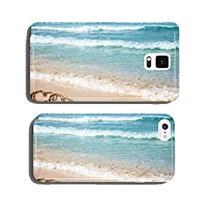 Hearts drawn on the beach sand. cell phone cover case Samsung S5