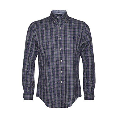 Ralph Lauren Men's Cotton Twill Classic Fit Button-Down Shirt (XL, Purple/Green/Beige/Blue/Navy)