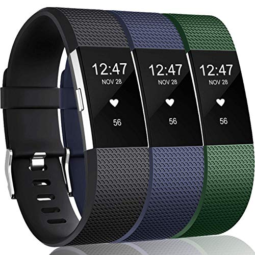 Wepro Bands Replacement Compatible with Fitbit Charge 2 for Women Men Large, 3 Pack Sports Watch Band Strap Wristband Compatible with Fitbit Charge2 HR Fitness Tracker, Navy Blue/Olive/Black ()