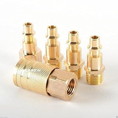 Wennow 5pcs Steel Quick Coupler Connector Set Air Hose Line Compressor Connection Set