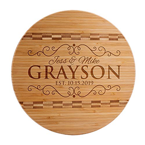 Personalized Cutting Board, Christmas, Housewarming, Wedding Gifts for Couple, Custom Engraved Circle Bamboo Board, 2 Sizes. 9 Designs, Large