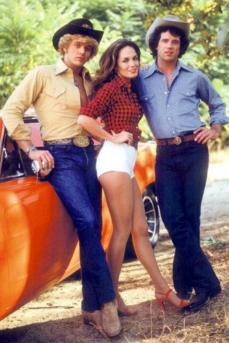 Dukes Of Hazzard Cast By General Lee Car 24x36 (The Dukes Of Hazzard Cast)