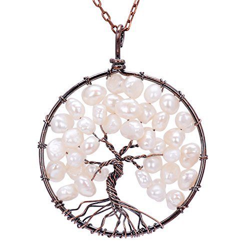 Circle Gemstone Necklace - Handmade White Pearl Tree of Life Pendant Family Tree Necklace Ancient Copper Root Gemstone Jewelry