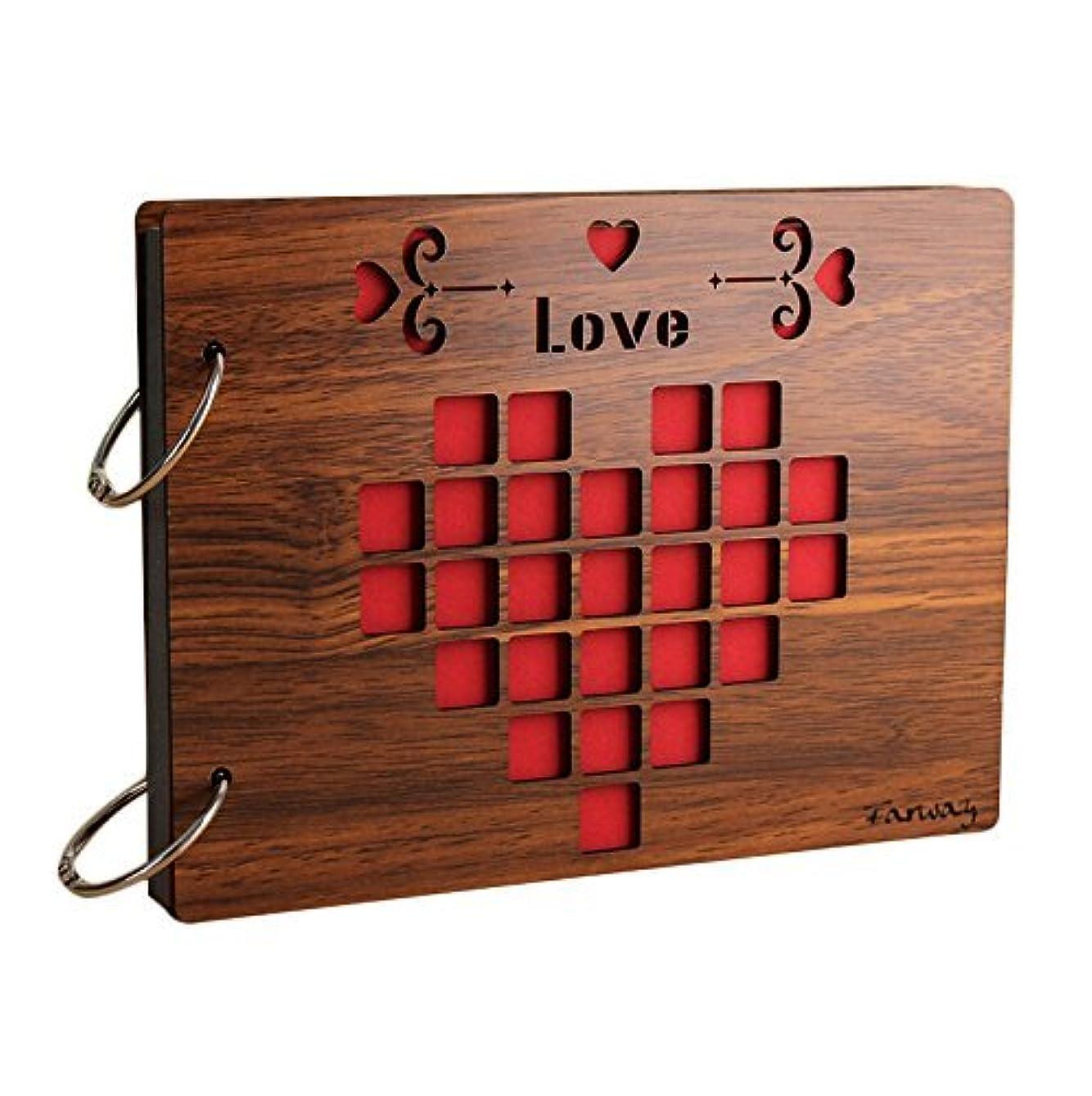 何かセーブリサイクルするFarway アルバム 木製 スクラップブック DIY 手作り ルーズリーフ式 多様柄 リング3本付き 27*20cm (Love) [並行輸入品]