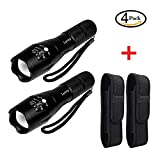 2 Pcs Tactical Flashlight & 2 Pcs Universal Flashlight Holder -- 1000lumen Super Bright -- 5 Modes Zoomable Torch Flashlight -- Waterproof Military LED Flashlight for Hiking, Camping by LETMY