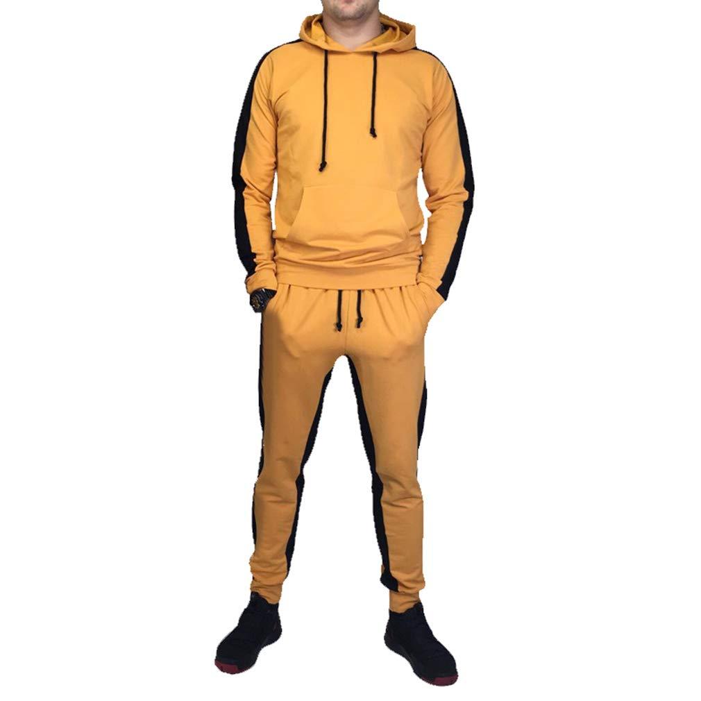 Survêtement Suit Femme Homme, Manche Longue Sweats à Capuche Pull Cordon + Longs Pantalons Casual Sports Running Ensemble de Sportswear 2pcs Plus La Taille