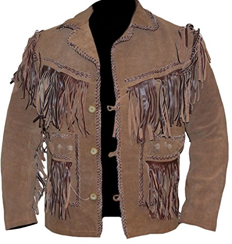 Classyak Men's Cowboy Western Style Leather Jacket Suede Brown 3X-Large