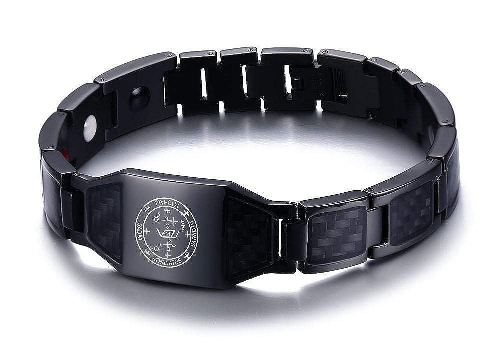 XUANPAI Guardian Archangel Michael Sigil Amulet Talisman Carbon Fiber 4 in 1 Magnetic Therapy Health Bracelet Black XP-SBRM-093B-1Michael+KZ