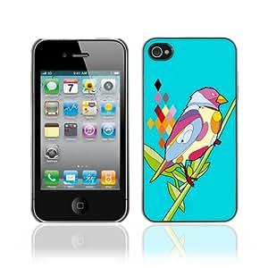 CaseCaptain Carcasa Funda Case - Apple iPhone 4 / 4S / Psychedelic Bird Illustration /
