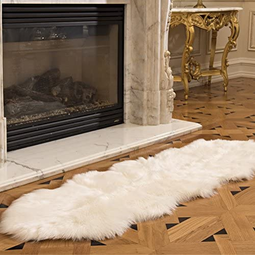 Genteele Luxurious Faux Fur Sheepskin Rug – Super Soft Plush White Faux Australian Fur Elegant Area Rug, 2 Feet X 6 Feet, White