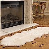 faux fireplace ideas Genteele Luxurious Faux Fur Sheepskin Rug - Super Soft Plush White Faux Australian Fur Elegant Area Rug, 2 Feet X 6 Feet, White