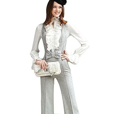 24dec5c488 Loralie Femme Chemisier à Volant Manches Longues Col Haut Top Blouse  Vintage Rétro Manchon Evasé Blanc