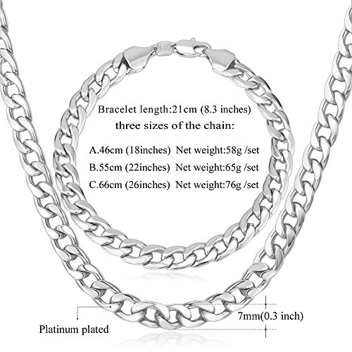 U7 Calssic Platinum Necklace Bracelet