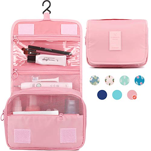 Hanging Travel Toiletry Bag Cosmetic Make up Organizer for Women and Girls Waterproof (Pink)